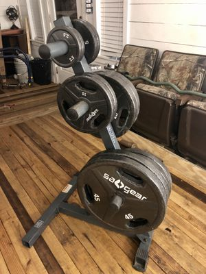 Weight plates with weight tree for Sale in Apopka, FL