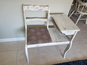 Gossip Bench, Chair Desk combo, telephone stand for Sale in Saugus, MA