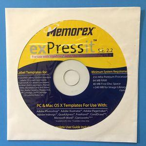 Memorex Expressit S.E. 2.2 (CD-ROM) Label Templates Disc for Sale in Stockton, CA