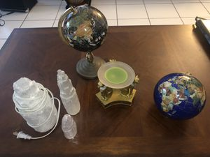 Varied household decor/ gemstone globe/salt lamp/Egyptian cats candle for Sale in Hollywood, FL