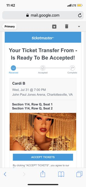 Two front row tickets to see Cardi B for Sale in Charlottesville, VA