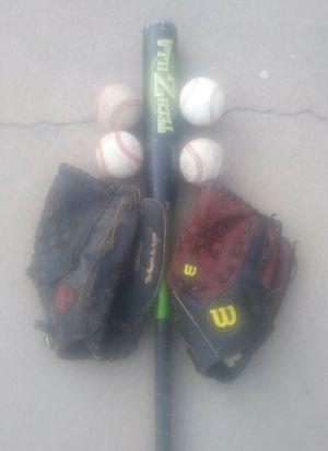 Gloves , Bat & Baseballs for Sale in Los Angeles, CA