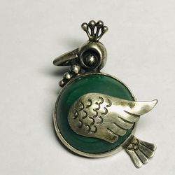 Onyx & Silver Peacock - Vintage Pin / Brooch for Sale in Hull,  MA