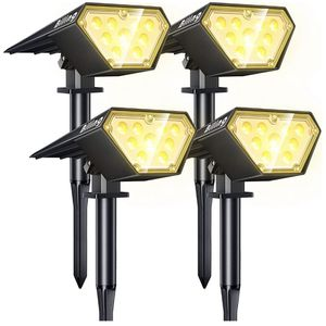 Biling Solar Spotlights Outdoor, 2-in-1 Solar Landscape Lights 12 LED Bulbs Solar Powered Lights IP67 Waterproof Adjustable Wall Light for Patio Pathw for Sale in Lakewood, CA