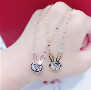 The Rabbit Zircon Pendant Necklace Titanium Stainless Steel Rose Gold Chain for Sale in Houston, TX