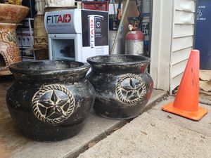 Black clay flower pots for Sale in Garland, TX