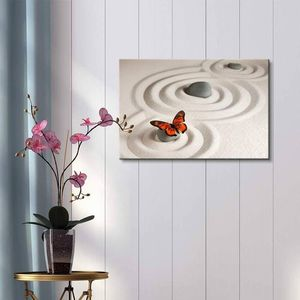 ((Free Shipping)) Circles on White Sand and Zen Rocks with Butterfly | Modern Wall Decor/Home Decor Stretched Gallery Canvas Painting like print for Sale in Hudsonville, MI