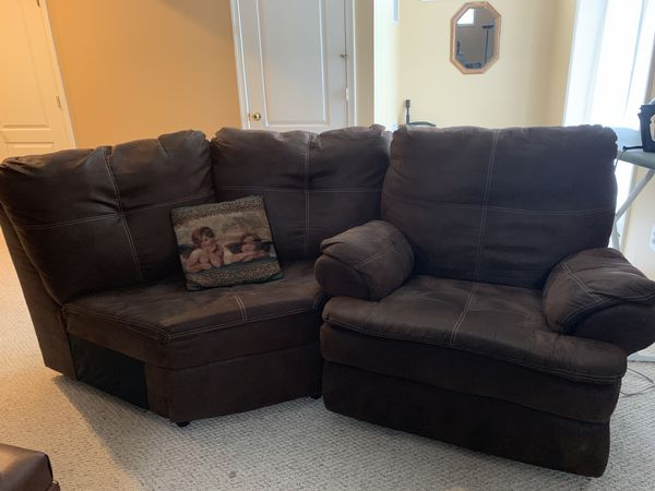 Microfiber brown 4 piece couch set