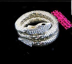 Betsey Johnson silver coiled snake bracelet, anklet, or armband for Sale in Philadelphia, PA