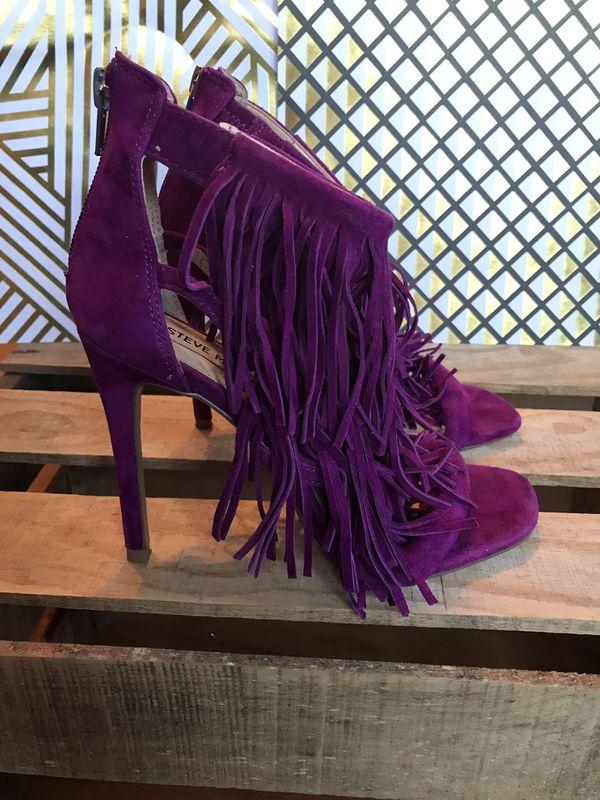 STEVE MADDEN purple/magenta leather fringe stiletto heels