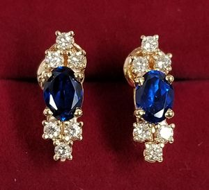 14k Yellow Gold Sapphire & Diamond Clip On Earrings for Sale in Hemet, CA