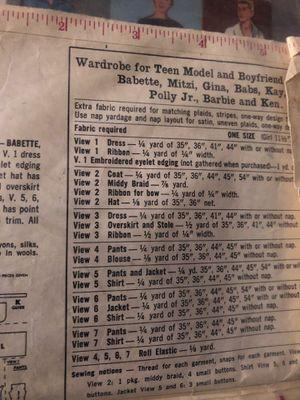 Vintage Barbie Pattern for Sale in SEATTLE, WA