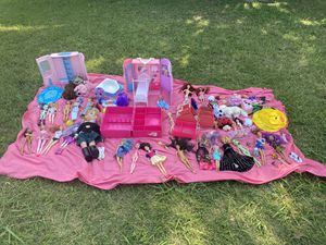 Bundle lot of Barbies Monster High My Life Dolls dollhouses accessories clothes clothing girls for Sale in Rowlett, TX