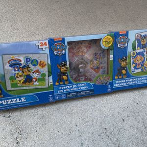 Paw Patrol 3 Game Bundle Pack - Puzzle, Popper Game And Jumbo Playing Cards - Brand New - Fun Kids Games for Sale in Fort Lauderdale, FL