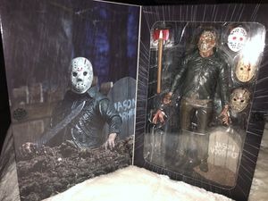 Friday the 13th Part V Jason Doll, include 4 interchangeable heads,damage by wound left hand, Machete, Axe, Icepick and tombstone. for Sale in Lancaster, TX