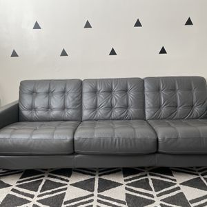 Grey Leather Couch for Sale in Newhall, CA