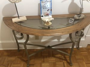 Half moon table with shelve over it. Shelve is good to hang hats, keys or umbrellas for Sale in Boca Raton, FL