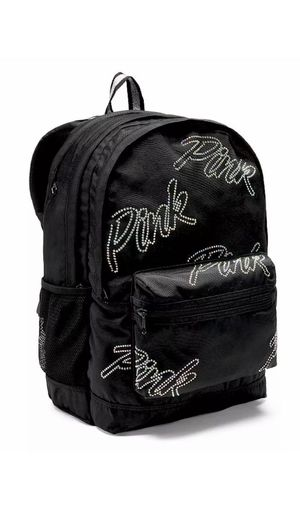 Victoria's Secret PINK Rhinestone Bling Campus Backpack Bag Full Size Black NWT for Sale in Loughman, FL