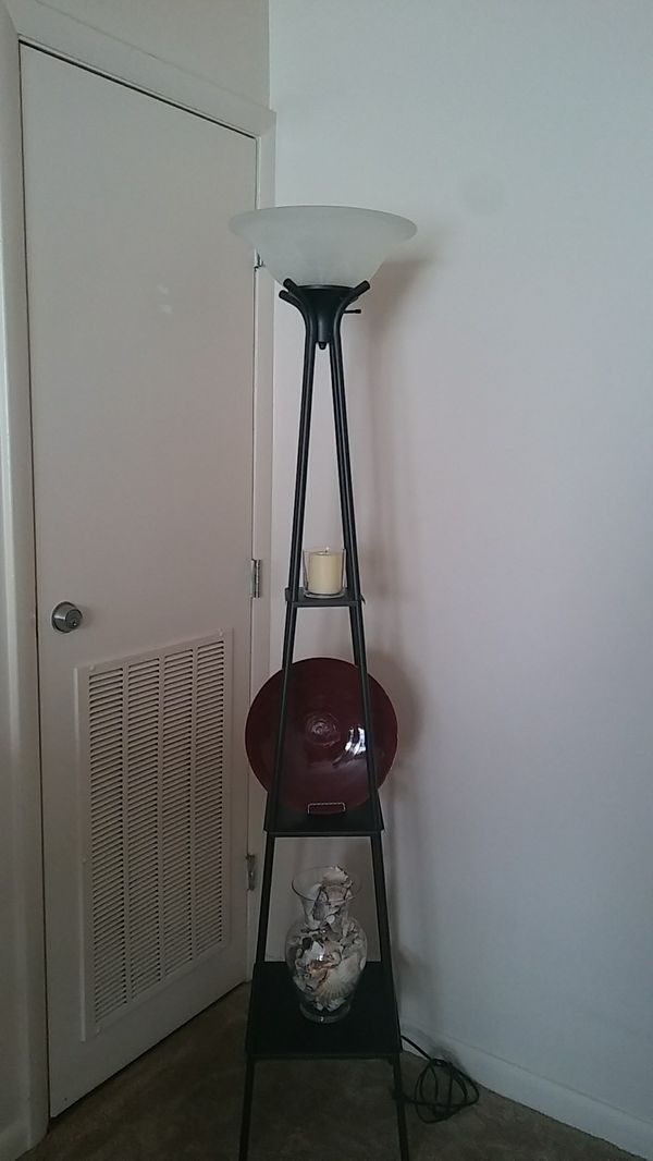 """70"""" tall lamp with shelves"""