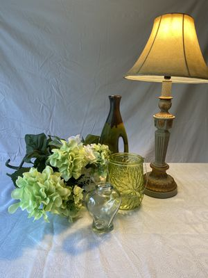 Lot of 6 Green Decor Including Lamp Vases Flowers for Sale in Granger, IN