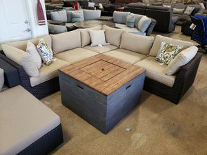 New 6pc outdoor patio furniture set with firepit tax included free delivery for Sale in Hayward, CA