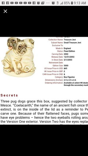 #HARMONY #KINGDOM *Pug and Play :Creator Peter Calvesbert Item # TJHO9 for Sale in Tustin, CA