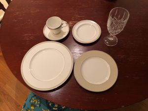 Noritake cameroon sand pattern china and crystal stemware (12 sets)! for Sale in Clemson, SC