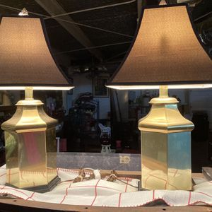 Pair Of Brass And Black Lamps - Vintage for Sale in Crosby, TX