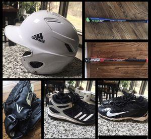 Baseball gear, bag, helmet, cleats, Mitts, gloves for Sale in Bridgeville, PA