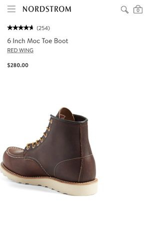"RED WING 6"" MOC TOE BOOTS DARK BROWN BRAND NEW IN BOX for Sale in Santa Ana, CA"