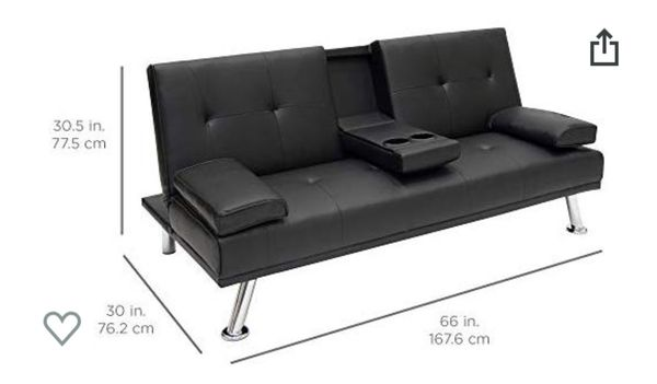 Modern faux convertible leather futon sofa bed