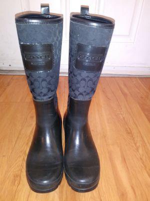 Coach Women's Black Rain boots size 9 Used for Sale in Colton, CA