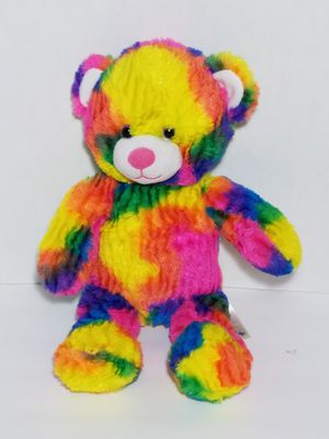 "Build A Bear Tropicolor Rainbow Tie Dye Bright Neon Teddy Plush Stuffed Toy 17"" for Sale in Dale, TX"