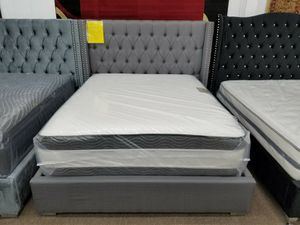 Brand new in box gray linen material queen size platform bed frame only for Sale in Hyattsville, MD