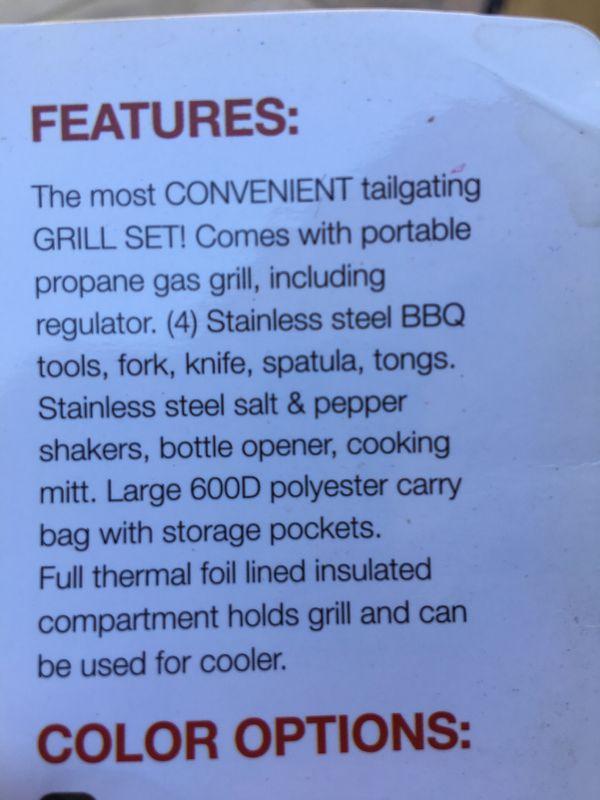 Tailgate duffle bag grill set new bbq football sports