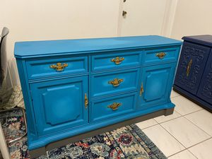 Beautiful bold teal blue hand-painted Bassett antique dresser for Sale in North Miami Beach, FL