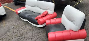 Red, White & Black rare leather couch and chair for Sale in Portland, OR