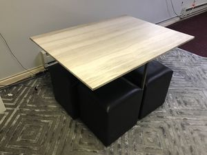 Office/dining table with stools and stone top for Sale in Ridgefield, NJ