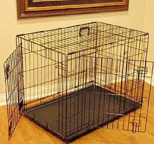 New in box 36x23x25 inches tall 2 doors foldable dog cage crate kennel 70 lbs capacity jaula de perro for Sale in Covina, CA