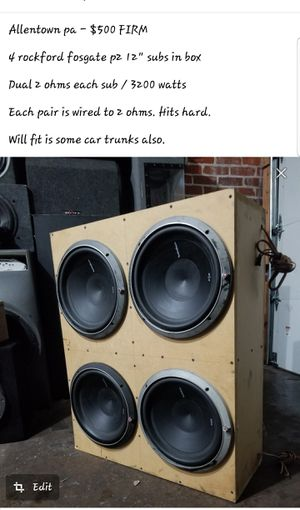 """4 12"""" subs in box. Fits most trunks hits hard for Sale in Allentown, PA"""