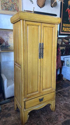 Antique yellow Chinese armoire for Sale in Los Angeles, CA