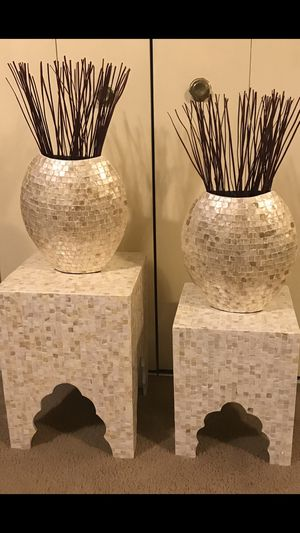 4 pieces set of 2 mosaic stands tables 2 matching vases free bamboo sticks pick up in Gaithersburg Maryland all sales final for Sale in Montgomery Village, MD