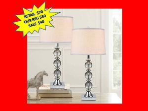 Crystal Table Lamp 2-pack, BRAND NEW! for Sale in Plantation, FL