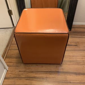 Rolling Orange Faux Leather Storage Ottoman for Sale in Federal Way, WA