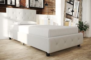 ⭐️New Upholstered Faux Leather TWIN Bed in white. P/U by ASHLAN AND TEMPERANCE IN CLOVIS for Sale in Clovis, CA