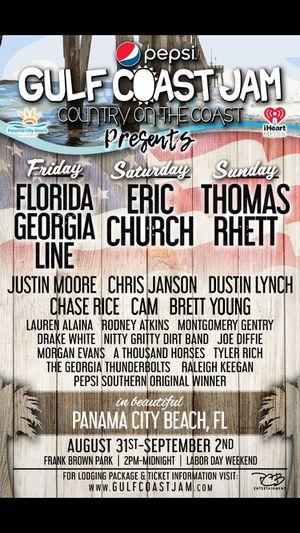 2 tickets gulf coast jam for Sale in Crestview, FL