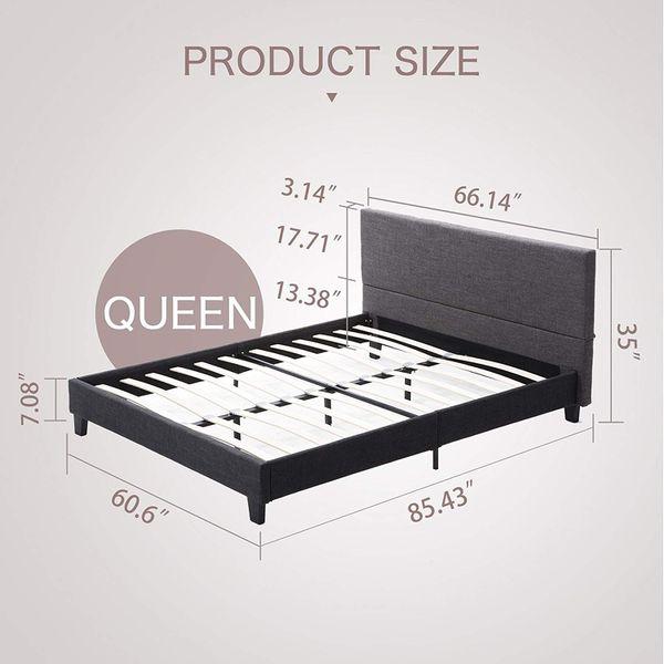 Mecor Upholstered Linen Platform Bed Frame - with Wooden Slat Support