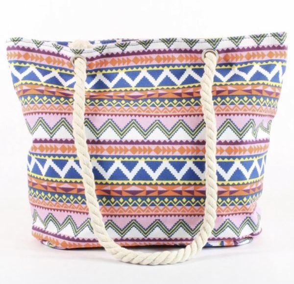 Womens Pink Blue Multi Color Tote Hobo Canvas Printed Rope Handle Bag Beach Bag Gym Bag Baby Diaper Bag Purse Handbag Purse Brand NEW