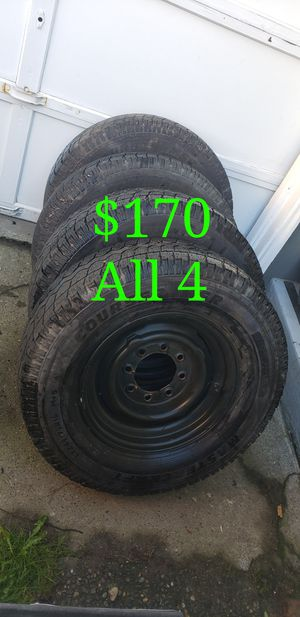 LT 245/75/16 - 8 Lug All Season Truck or Van Tires + Wheels for Sale in Seattle, WA