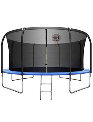 14 FT Trampoline with Basketball Hoop, Safety Enclosure Net, Waterproof Mat and Ladder, Basketball Trampoline for Kids/Adults, Outdoor Backyard Tramp for Sale in Glendora, CA